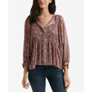 LUCKY BRAND Womens Peasant Top Blouse, Size S
